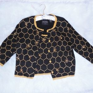 RARE! MICHAEL SIMON Honey Bees Cardigan SET
